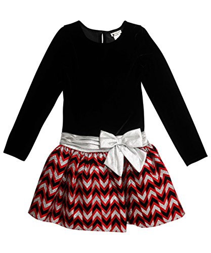 Youngland Little Girls' Dropwaist Velvet to Taffeta Chevron Dress with Bow Detail, Black/Red, 6X (Lined Velvet Fully Skirt)