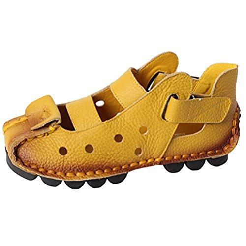 MatchLife Damen Vintage Leder Flach Sandalen Style1-Gelb