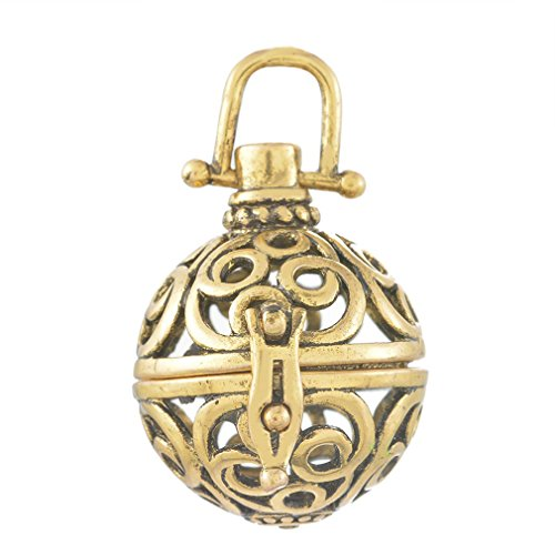 Souarts Copper Color Hollow Filigree Cage Locket Pendant Flower Engraved for Baby Caller Music -