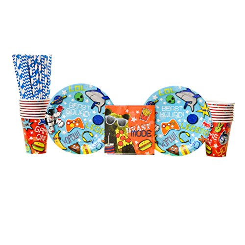 Epic Plate - Epic Party Supplies Pack for 16 Guests: Straws, Dessert Plates, Beverage Napkins, and Cups