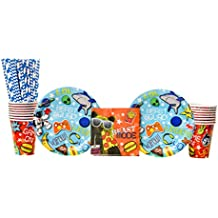 Epic Party Supplies Pack for 16 Guests: Straws, Dessert Plates, Beverage Napkins, and Cups