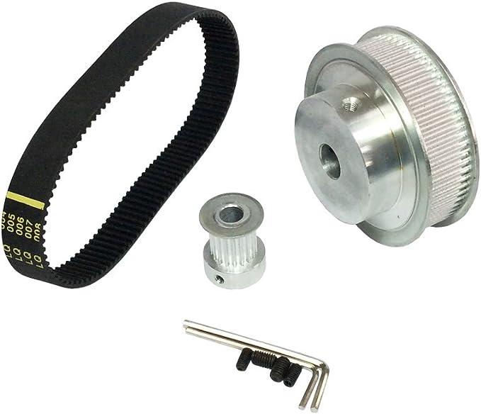 2pcs HTD3M 36 Teeth Timing Pulley 10mm Width Belt Set Kit Reducer Ratio 1:1