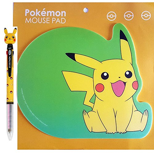 Pokemon BallPoint Pen 3-Colors ink Pen & Pikachu Mouse Pad Mat by by Nintendo