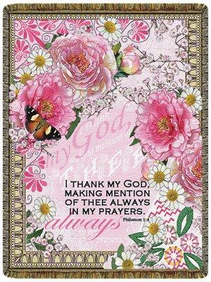 Bible Verse Throw (I Thank My God Throw Verse: Phil. 1:4 Blanket USA Made)