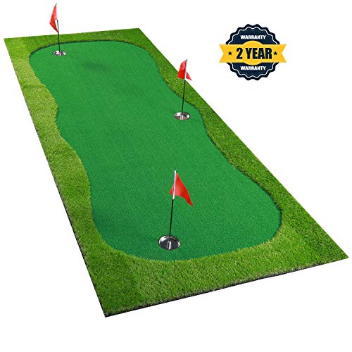 BOBURACN Golf Putting Green/Mat-Golf Training Mat- Professional Golf Practice Mat- Green Long Challenging Putter for Indoor/Outdoor (Green, 4x10ft)