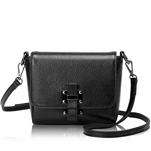 Mokeneye Cow Leather Bag Casual Crossbody Bag Genuine Leather Shoulder Bag Saddle Bag 17011 (Black)