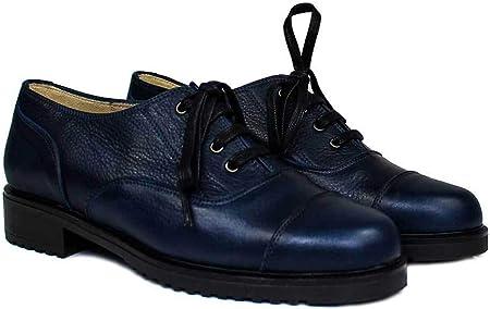 GENNIA - Janet - Oxford Blucher Zapatos es de Piel para Mujer - Planos Suela Gruesa Tacon Bajo 3 cm - Cierre Cordoneras - Forro Piel - Mocasines Sport Casual -