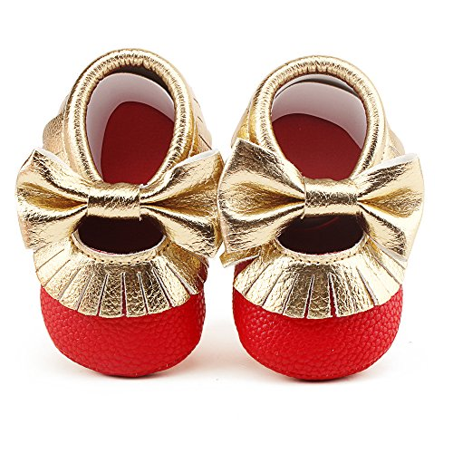 Delebao Infant Toddler Baby Soft Sole Tassel Bowknot Moccasinss Crib Shoes (12-18 Months, Red &Gold)