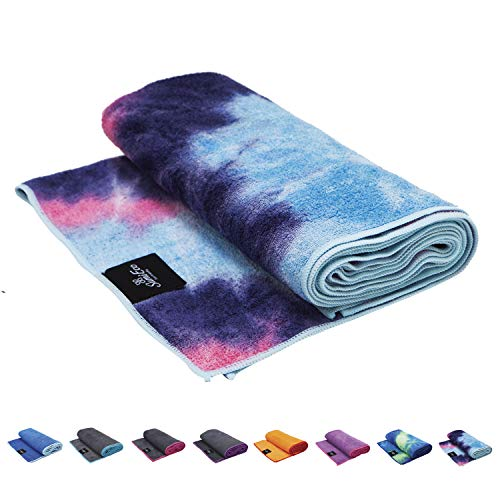 Yoga Mat or Hand Towel - Soft Microfiber, Sweat Absorbent, Non-Slip, Bikram Hot Yoga Pilates | Size & Color Option (Mat Towel - Pink Purple Mix | Light Blue Edge - 1pc, Mat Towel - Size 72