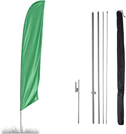 Swooper Flutter Feather Flag plus Pole /& Ground Spike SOLID LIGHT GREEN