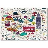 Large Wall Mural Sticker [ London,Colorful Symbols Red Bus Big Ben Tea Umbrella Hat Retro Black Cabin in a Heart Print,Multicolor ] Self-adhesive Vinyl Wallpaper / Removable Modern Decorating Wall Art