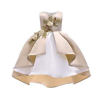 Robe Toddler, mamum Toddler niña niño sin mangas bordado Vestido de Fete de niña cumpleaños