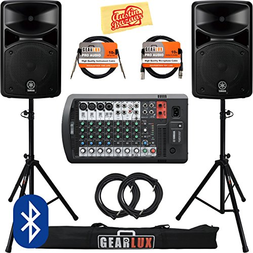 Yamaha STAGEPAS 600BT Portable PA System Bundle with Speaker Stands, Cables, and Austin Bazaar Polishing - Compact Hpf