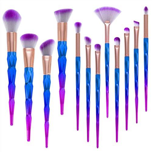 12 Pcs Makeup Brush Set Premium Synthetic Foundation Blending Blush Face Powder Brush Eyeshadow Blending Brushes ()