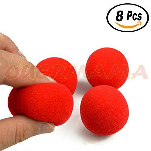 OUERMAMA 8 Pcs 2.5cm Finger Sponge Ball Magic Tricks Classical Magician illusion Comedy Close-up Stage Magic Accessories Comedy Trick Soft Red Sponge Ball
