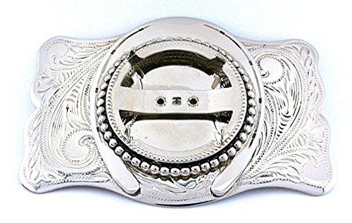 Silver Dollar 39mm Cabochon Cab Gem Southwest Silver Color Belt Buckle Mounting (Silver Dollar Buckle)