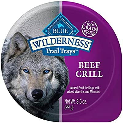 Blue Buffalo Wilderness Trail Trays High Protein Grain Free, Natural Adult Wet Dog Food Cups, Beef Grill 3.5-oz (Pack of 12)