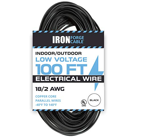 18/2 Low Voltage Landscape Wire - 100ft Indoor/Outdoor Low-Voltage Copper Cable, Black ()