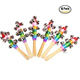 6 Pcs Vivid Color Rainbow Handle Wooden Bells Jingle Stick Shaker Rattle Baby Kids Children Musical Toys