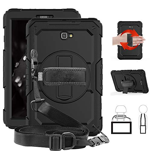 Case for Galaxy Tab A 10.1 SM-T580, Clarks Shockproof Heavy Duty Protective Military Rugged Cases with Shoulder Strap [Built in Screen Protector] for Samsung Galaxy Tab A 10.1 SM-T585 2016, Black (Samsung Tablet Military Case)