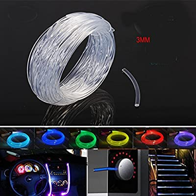 Rayauto 3mm Car Home LED Lighting Decoration Clear Side Glow Fiber Optic Cable DIY