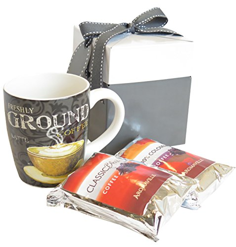 Holidays Coffee Mug Gift Set with Coffee and 22 Ounce Mug in Gray Festive Gift Box for Christmas - Coffee Lovers Gift