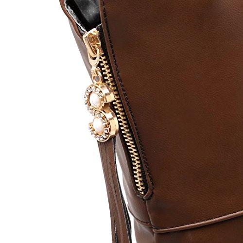 AIYOUMEI Schuhe Stiletto Absatz Elegant 10cm Braun Fransen Damen Overknee Heels mit Stiefel und Winter High rqrwCx4