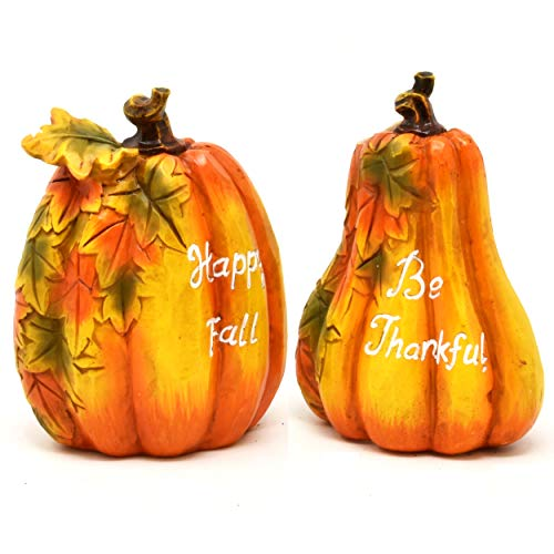Thanksgiving Pumpkin Table Decorations Happy Fall & Be Thankful Figurine 2 Inspirational Harvest Autumn Resin Centerpieces for Outdoor Fireplace Mantle Kitchen Living Room Home Party Shelf Decor