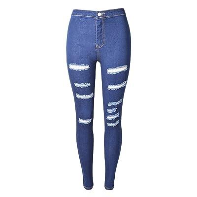 Femme Skinny Jeans Déchirés Trous Crayon Pantalon Couleur Unie Stretch Slim Washed Denim Pantalons