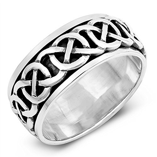 Infinity Knot Celtic Oxidized Spinner Ring .925 Sterling Silver Band Size 7