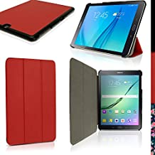 """iGadgitz Premium Red PU Leather Smart Cover Case for Samsung Galaxy Tab S2 9.7"""" SM-T810 with Multi-Angle Viewing Stand + Auto Sleep/Wake + Screen Protector"""
