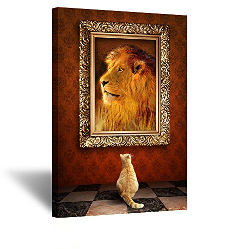 Kreative Arts - Cat Looking at a Portrait of Lion in Golden Frame