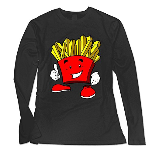 Ongshuquwe Cartoon French Fries Women's Casual Long-sleeved Round Neck T-shirt Autumn And Winter XXL (Halloween Memes Australia)