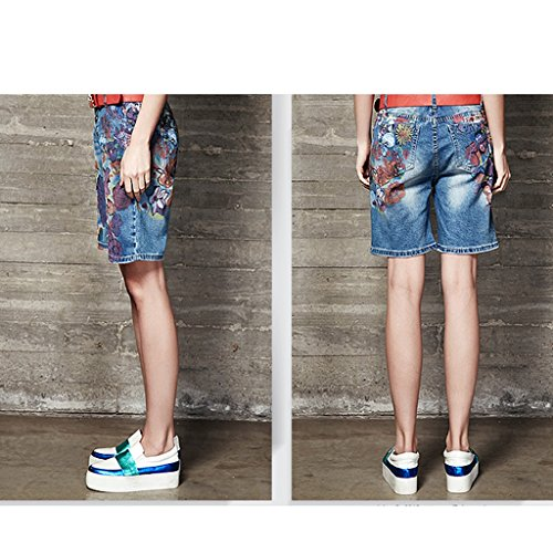 28 Femme QI femme FANG coton Size en d'impression denim Short BUSINE bleu short Vtements AAEOq