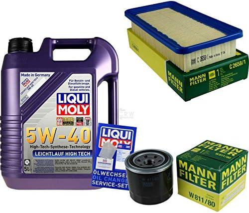 Filter Set Inspektionspaket 5 Liter Liqui Moly Motoröl Leichtlauf High Tech 5W-40 MANN-FILTER Luftfilter Ölfilter