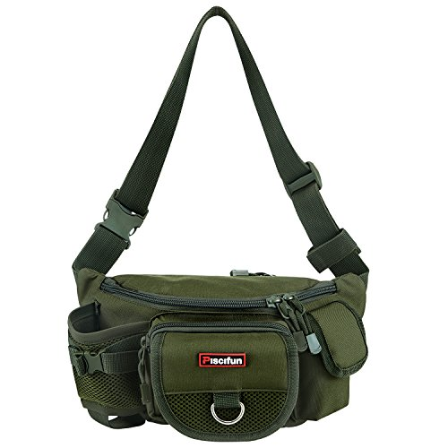 Piscifun Fishing Bag Portable Outdoor Fishing Tackle Bags Multiple Waist Bag Multi Functional Fanny Pack (Color Army Green)