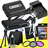 NPFH50 Lithium Ion Replacement Battery w/Charger + Mini HDMI + 3 Piece Filter Kit + Tripod + USB SD Memory Card Reader /Wallet + Deluxe Starter Kit for Sony DCRDVD508, DCRDVD408, DCRDVD308, DCRDVD108, DCRDVD505, DCRDVD405, DCRDVD305, DCRDVD205, DCRDVD105,