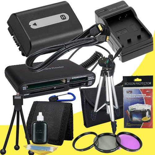 NPFH50 Lithium Ion Replacement Battery w/Charger + Mini HDMI + 3 Piece Filter Kit + Tripod + USB SD Memory Card Reader /Wallet + Deluxe Starter Kit for Sony DCRDVD508, DCRDVD408, DCRDVD308, DCRDVD108, DCRDVD505, DCRDVD405, DCRDVD305, DCRDVD205, DCRDVD105, by DavisMAX