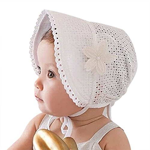 Spring Summer Baby Cotton Hat Hollow Lace-up Beanie Floral Adjustable Kids Cap Newborn Photography Props Sun Hat for 0-24 M,Pink/White (White)