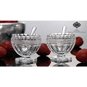 Godinger Silver Art Round Non-leaded Crystal Footed Salt Dishes Bowls Cellars With Spoons, Set of 2