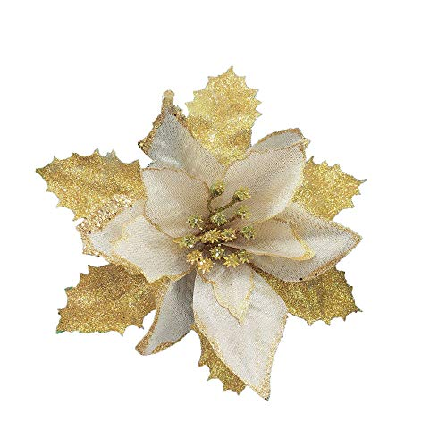 FightingFly 12pcs Gold Glitter Poinsettia Christmas Tree Ornaments, Artificial Flowers and Leaves for Christmas, Holiday and Party Decoration