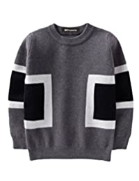 MFrannie Boys Ribbed Crew Neck Casual Plaid Autumn Pullover Sweater