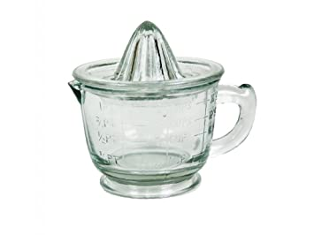 CAL FUSTER - Exprimidor graduado de vidrio con asa de transporte. Medidas: 12x16 cm