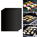 GWHOLE Oven Mat BBQ Grill Mat 50x40cm, Set of 3 Non Stick Barbecue Baking Mats for Charcoal, Gas Or Electric Grill