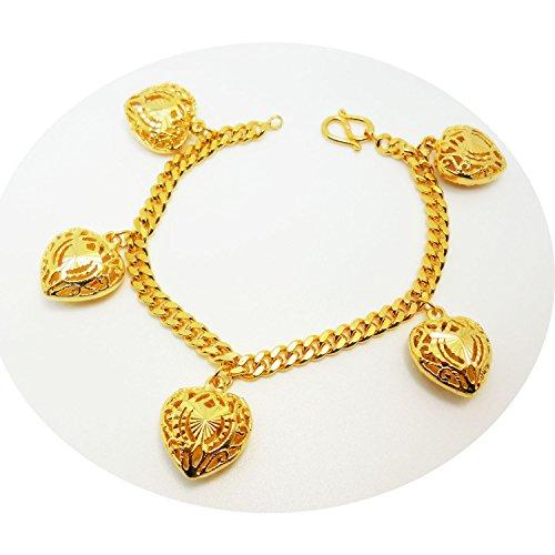 Heart 22k 23k 24k Thai Baht Yellow Gold Plate Charm Bracelets 7.5 Inch ()