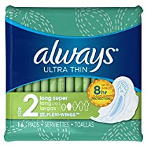 Always Ultra Thin Long/Super With Wings Unscented Pads 16 Count
