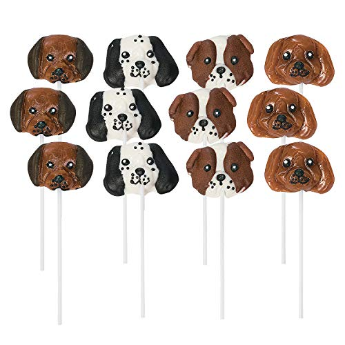 Fun Express Dog Head Lollipops | 12 Count | Party Favor Candy Suckers for Birthday Parties and Baby - Fun Lollipop