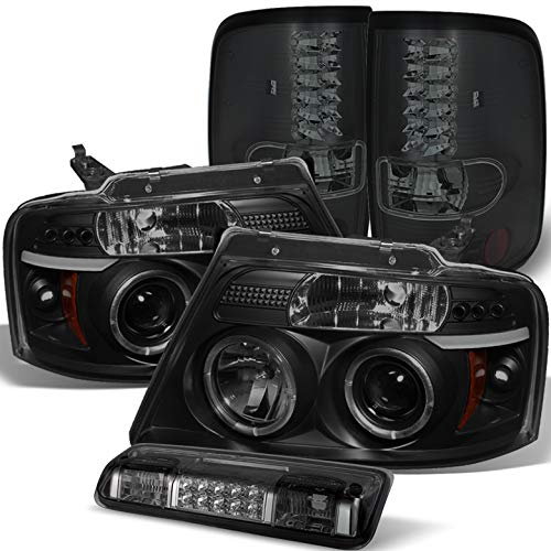 For 2004-2008 Ford F150/Lobo Black Smoke Halo Projector Headlights + LED Tail Lights + Smoked LED 3rd Brake Lamp 2005 06