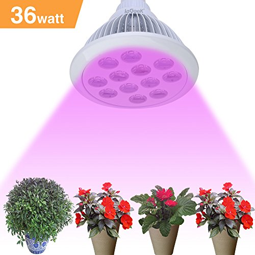 ieGeek 36W Hydroponic LED Grow Lights for Indoor Plants, Full Spectrum Miracle Indoor Gardening Light, High Efficient Eco-friendly E27 Plant Light Bulb for Greenhouse Organic Aquatic