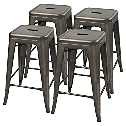 Furmax Metal Stools High Backless Metal Indoor Outdoor Counter Height Stackable Bar Stools Gun Metal